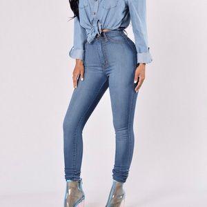 Classic High Waist Skinny Jeans - Medium Blue